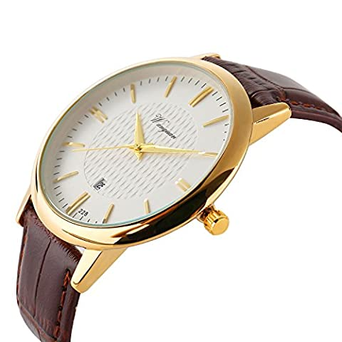 ETOWS® Men Watch Men's Precise Quartz Wrist Watches Waterproof Watches with Day and Date Calendar Ultrathin Watch Gold Hands Brown Leather