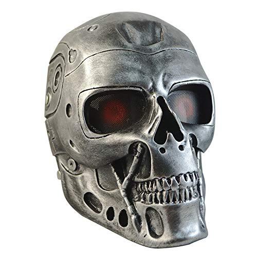 Kopf Kostüm Topf - Ediand Halloween Feldmaske - CS Terminator Resin Maske, geeignet für Tanzparty-Rollenspiele (Silber)