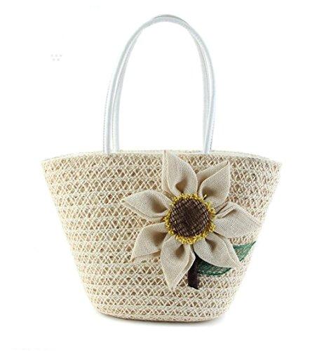 Stroh-Blumen-Tote-Schulter-Stroh strickte Frauen-Handtaschen-Normallack-Streifen-Sommer-Strand-Beutel , milk white -