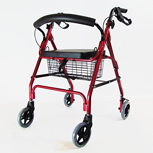 D Pro T Rot Rollator, leicht, mit Sitz 4 Rad Walker Mobilität Gehhilfe Zimmer Behinderung Hilfe rot (Roter Rollator Mit Sitz)