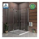 Alpenberger Eckeinstieg Antikalk Duschkabine 140 x 140 x 195 cm | Eck-Dusche mit 2 Türen aus Einscheiben-Sicherheitsglas (6mm) für ein sicheres Duschgefühl | Extra Breiter Einstieg |