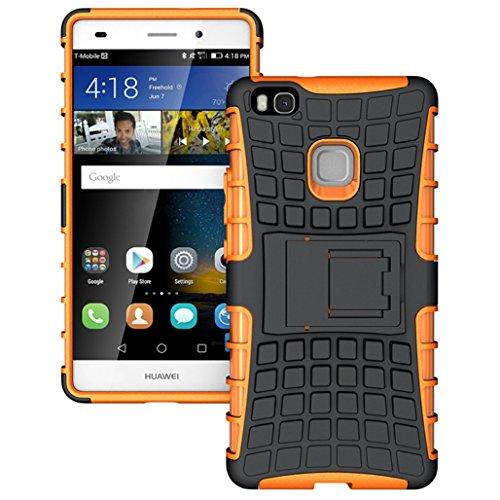 Apanphy Huawei P9 Lite Hülle, Kick-Ständer Rugged stoßfest Handy Schutzhülle Silikon Tasche Ständer Hülle Case mit Standfunktion für Huawei P9 Lite, Orange