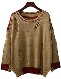 SGHTRHXUT suéter Suéter de Punto Ahuecado suéter Blusa Suelta Jumper Cuello Redondo Cabeza Agujero Hueco Roto Femenino, Color Caqui, código Uniforme