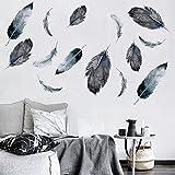 Weaeo Feder Wand Dekoration Aufkleber Wohnzimmer Schlafzimmer Zimmer Persönlichkeit Wandaufkleber Nordischen Selbstklebende Tapete Wandaufkleber