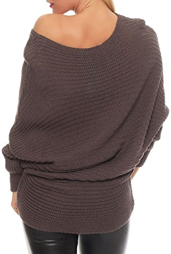 malito Damen Pullover im Oversize Look | Grobstrick Longsleeve | Oberteil mit Rundhalsausschnitt | Strickpullover �?7325 Fango