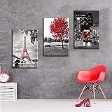 Mulmf Sin Marco 3 Paneles Modernos Pinturas Decorativas De Coches De La Torre Eiffel De París Arte De Pared Impresión De Lona Pinturas Para La Sala De Estar