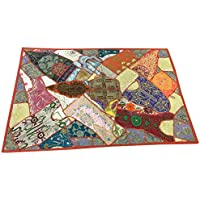 Mogul Interior Indian Sari Tapestry Brown Embroidered Patchwork Wall Hanging Throw