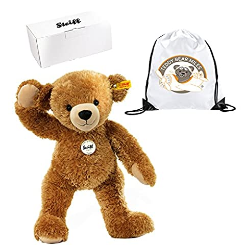 Highest Quality Authentic Steiff Happy Teddy Bear 40 cm and Reusable Gift Bag - Bedroom Accessory - Boy Boys Girl Girls Kids Children Child Bed Time Buddy Gift Present Idea - Suitable From