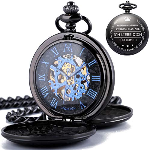 ManChDa Gravierte Taschenuhr Für Ehemann Geschenk, Vintage Mechanische Taschenuhren Mit Kette Für Männer, Jubiläumsgeschenk, Schöne Geschenke Für Die Familie