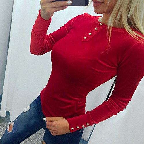 Femmes Sexy O cou Vintage velours à manches longues pull Sexy Slim Button Sweatshirt Rouge
