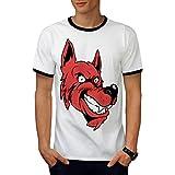 Loup Visage Dessin animé Animal Fée Conte Men L T-shirt à sonnerie   Wellcoda