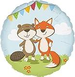 Folienballon * FOX & BEAVER * für Kindergeburtstag oder Motto-Party//Folien Ballon Party Deko Motto Kinder Geburtstag Waldtiere