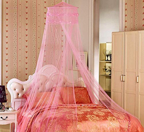 YYGIFT® Rundes Netz Himmelbett Vorhang Mückenschutz Moskitonetz Vollständig Hängendes Set Fliegennetz Bett Insektenschutz Doppelbett Einzelbett Indoor Outdoor (Rosa)