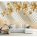 3d foto wallpaper soggiorno murale, fiore perla d'oro foto foto TV sfondo muro non tessuto, carta da parati per parete 3d 280 cm (L) x 180 cm (A)