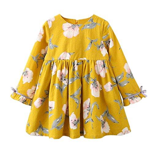 DAY8 Fille 2 à 7 Ans Vetement Robe Princesse a la mode Hiver Robe de Soirée Fille ete pas cher Robe Enfant Fille Fashion Fleur Printemps Tutu Robe Bébé Fille Manche Longue (120(4-5 ans), Jaune)