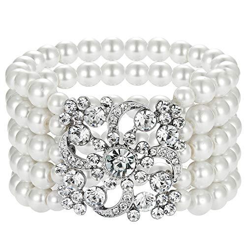 Coucoland 1920s Armband Damen Perlen Blinkende Kristall Armband 20er Jahre Party Zubehör Armband Damen Gatsby Kostüm Accessoires ()