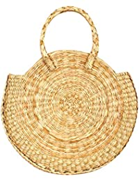 HabereIndia Girl's Dry Grass Round Straw Boho Chic Summer Bag (Beige)