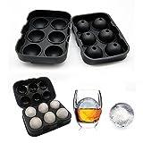 Eiswürfelform, Tophie Eiskugelform für 6 Eiskugeln Kugelförmige Form Silikon eiswürfelbehälter 100 % BPA frei Eiswürfelschalen für Whisky Cocktails Saft Wasser Soda Saft Wein Obst Pudding