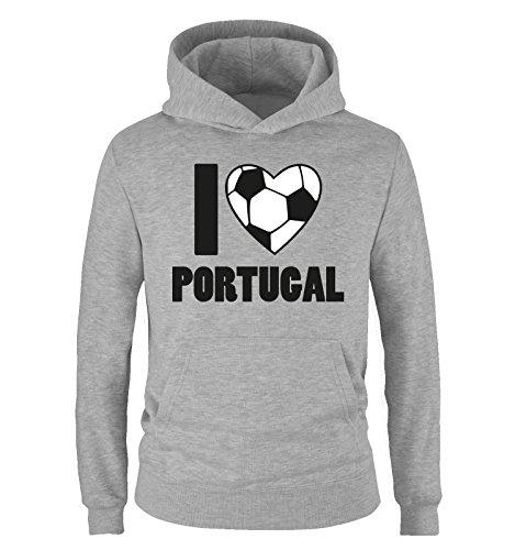 I LOVE PORTUGAL – Kinder Hoodie – Grau / Schwarz-Weiss Gr. 152/164
