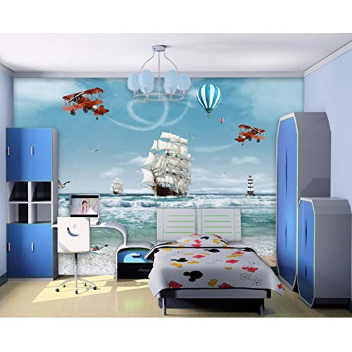 Ganjue Tapeten Benutzerdefinierte Moderne Foto Mural Kinder 3D Cartoon Ozean Meer Boot Hubschrauber Nordischen Stil Für Schlafzimmer Kinderzimmer-450X300CM (450 3d Hubschrauber)