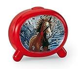 Atlanta Kinderwecker Pferde mit Tiergeräusch Rot für Mädchen - 1183-1P