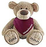 Stofftier Teddy Bär und Baby Halstuch im Set mit Namen personalisiert beere
