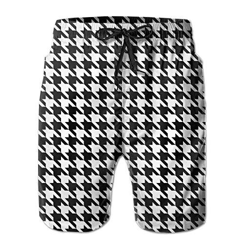 ZKHTO Men Boy Swim Trunks Houndstooth Pattern Beach Board Casual Running Shorts Quick Dry Swim Briefs for Summer,Shorts Size M