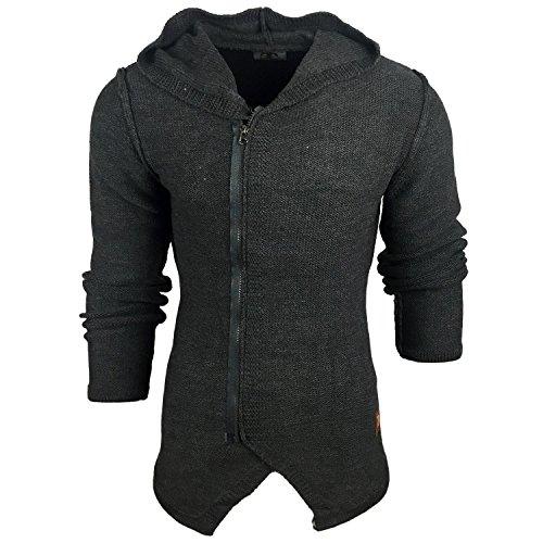 Subliminal Mode - Gilet Veste Fashion à Capuche Homme SB-17001 Tricot Grosse Maille Anthracite