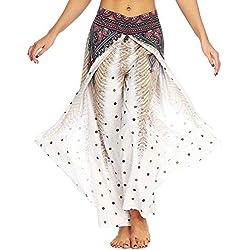 Nuofengkudu Femme Split Baggy Yoga Pantalon Large Jambe Hippie Imprimé Motif Ethnique Leger Mode Taille Haute Pants Ete Plage Decontracte Casual (Marron Paon,L/XL)