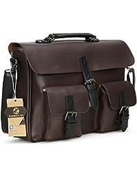 Koolertron sac bandoulière cartable porté épaule vintage en cuir synthétique Homme pour ordinateur portable 13pouce