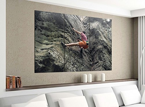 Acrylglasbilder 3 Teilig 150x120cm Freeclimbing Felsen Klettern Extrem Druck Acrylbild Acrylglas Acrylbilder Wand Bild 14E1124, Acrylgröße 8:gesamt 150x120cm