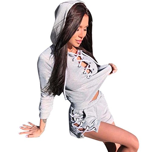 Women's Sweatshirt FORH Damen Bandage Hoodie Pullover Sweatshirt Reizvolle Vordere Verband Halsband langarm T-Shirts Sport Sweatjacke tops mit verlockend Kurze Hose Hitze pants Outfit Set (M, grau)
