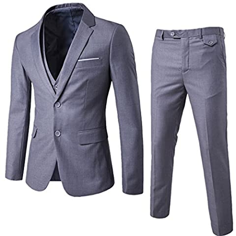 Mens 3-Piece Suit Slim Fit Two Button Single Breasted Notch