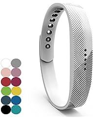 Für Fitbit Flex 2 Zubehör Ersatz Armband - iFeeker Classic Weiche Silikon Metall Schließe Uhr Buckle Design Armband Halter Tasche für 2016 Fitbit Flex 2 Fitness Activity Tracker (Klein oder Groß)