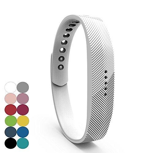 Für Fitbit Flex 2 Zubehör Ersatz Armband - iFeeker Classic Weiche Silikon Metall Schließe Uhr Buckle Design Armband Halter Tasche für 2016 Fitbit Flex 2 Fitness Activity Tracker (Klein oder Groß) (: Weiß Damen-bekleidung Uhren)
