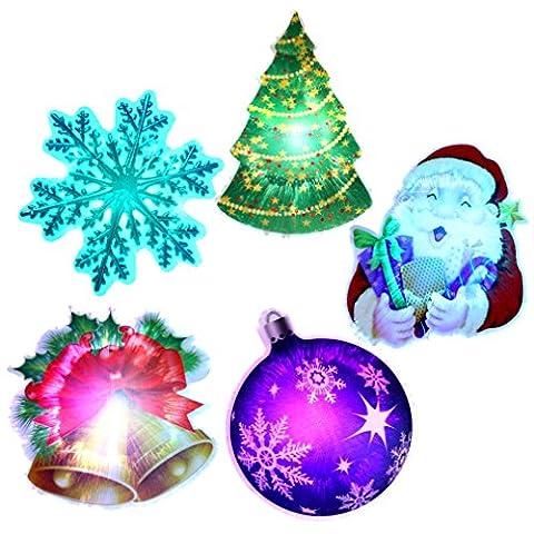 5pcs LED Weihnachtsmann Magnetische Paste Aufkleber Glocke Schneeflocke Weihnachtsbaum Beleuchtung Deko