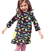 HEETEY Girl Dress, Toddler Baby Girls Long Sleeve Cartoon Dinosaur Print Dress Outfits Clothes Kids Party Dresses Winter Tops Clothing for 0-5 Year