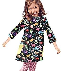 catmoew kinder kleider (12M-5T) Kind Lange Ärmel kleidung Mädchen Kleidung kleider für kinder Cartoon Tier Dinosaurier Drucken Rock Kleid babykleidung günstig