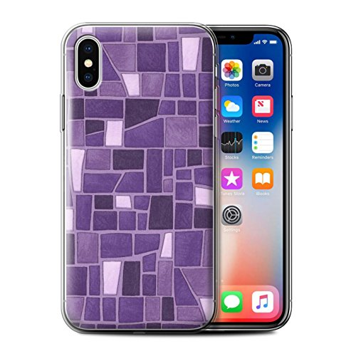 Stuff4 Gel TPU Hülle / Case für Apple iPhone X/10 / Blau/Türkis Muster / Mosaik Fliese Kollektion Lila/Weiß