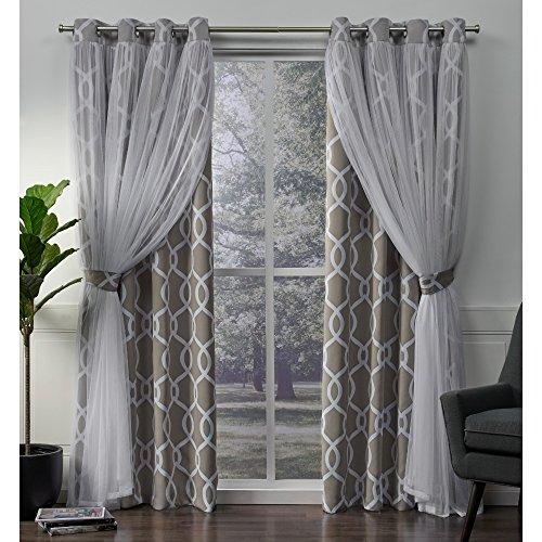 Exclusive Home Carmela Layered Geometrische Blackout Fenster Vorhang-Paar mit Tülle und Deckel, Polyester, Polyester, Natur, 84 x 52 x 0.2 cm (Vorhänge Tülle 84 Oben)