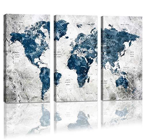 MAECTPO Wandaufkleber Weltkarte mit Wasserfarbe, Motiv Weltkarte, 40,6 x 81,3 cm, Blau (Plastiktüten Verkauf Zum)
