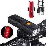 GELUPU LED Fahrradlampe Set USB Fahrradbeleuchtung 600LM Wiederaufladbare Wasserdicht Fahrrad Frontlicht mit Rücklicht 3-Modi für Mountainbikes und Nachtfahrer, Externe Powerbank Ideal für Handys