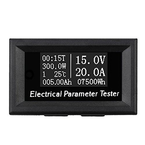 Preisvergleich Produktbild KKmoon 7 in 1 Multimeter 100V 20A OLED Mini Digital Amperemeter Voltmeter Spannung Strom Zeit Energiekapazität Meter, Elektrische Parameter Temperatur Tester, Schwarz