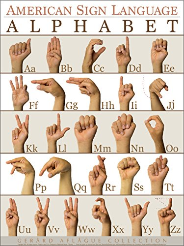 Gerard Aflague Collection - American Sign Language Alphabet (ABC) Poster - Fine-Art Giclee Printed, 18x24 Inches - Matte Finish (Art Fine Giclee)