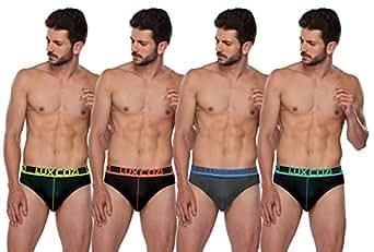Lux Cozi GLO Men's Multicolored Cotton Briefs (Pack of 4) (Small)