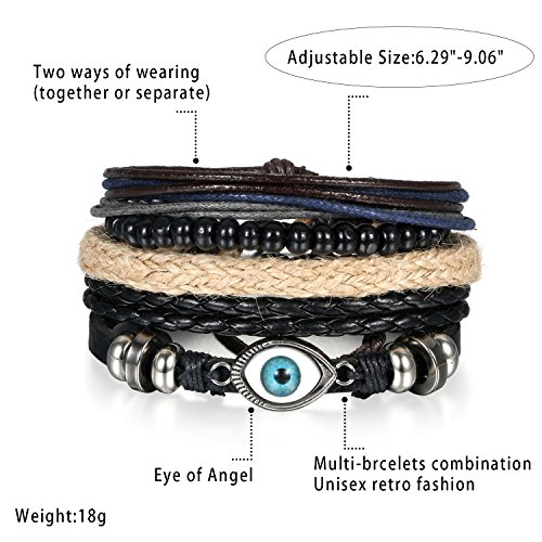 5 Stück Herren Armband Leder Armband Armbänder Schmuck Set schwarz , OIDEA Vintage Breite Geflochten Lederarmband Surferarmband Armreifen , verstellbar - 3