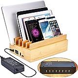Avantree Voll Zertifiziert 100W 10 Ports Schnellladegerät Quick Charge 3.0 & Typ C USB Bambus Ladestation für Mehrere Geräte, New MacBook, Smartphones und Tablets [2 Jahre Garantie]