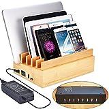 Avantree 100W 10 Ports Schnellladegerät Quick Charge 3.0 & Typ C USB Bambus Ladestation für Mehrere Geräte, New MacBook, Smartphones und Tablets 2 Jahre Garantie