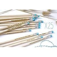 Lot de 25 crayons bois personnalisés, gravés avec votre texte, prénom, date, cadeau pour invités, mariage, anniversaire, gomme bleue