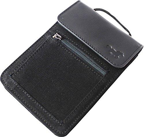 Brustbeutel XL Large in Leder für Passport, Mobile Handy (Iphone 6 Samsung NOTE), Geld Münzen, Karten. Ideal für Reisen!(Schwarz Canvas & Leder)